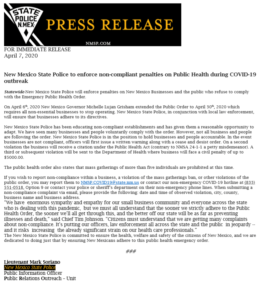 Press Release from NM State Police