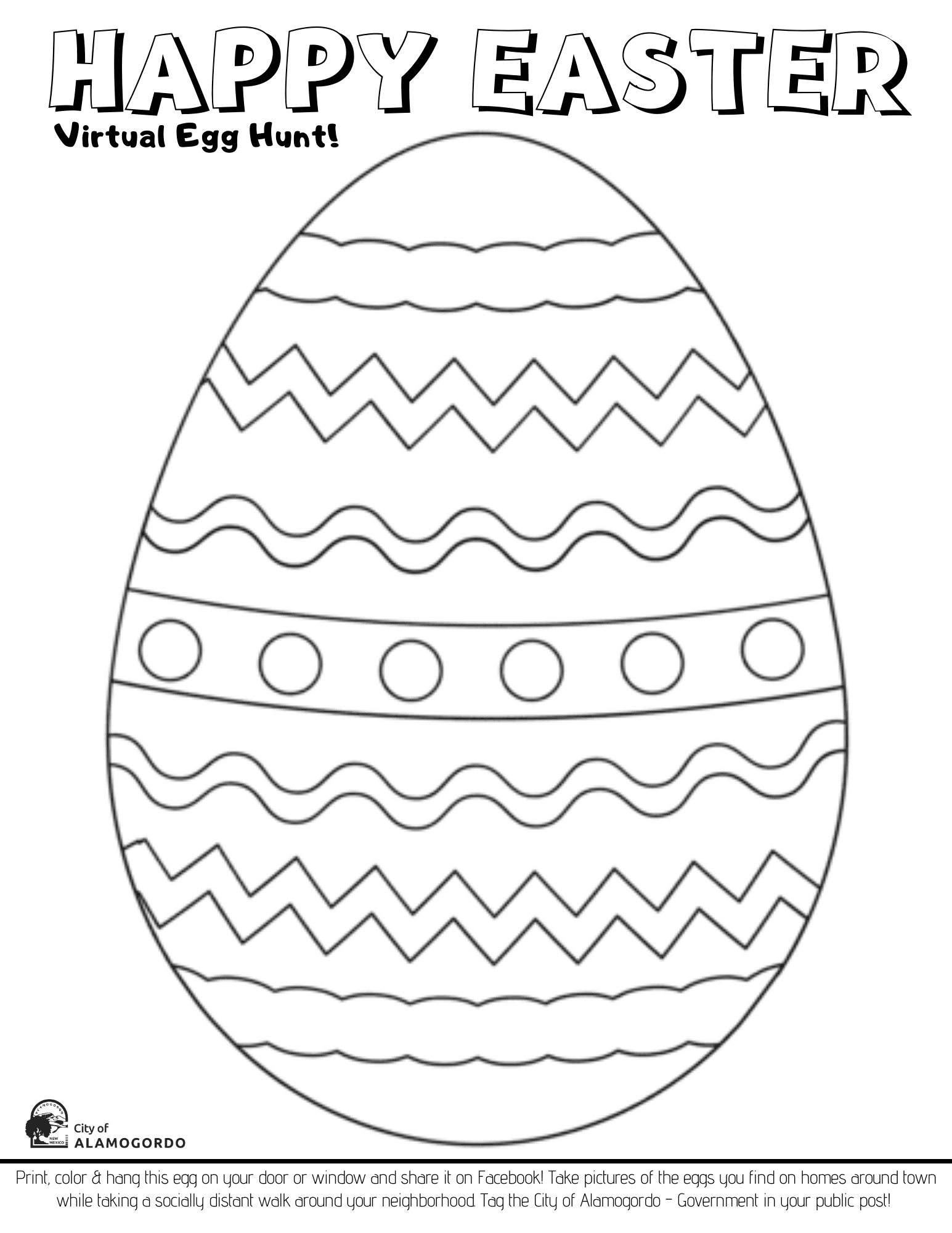 Virtual Egg Hunt Coloring Page