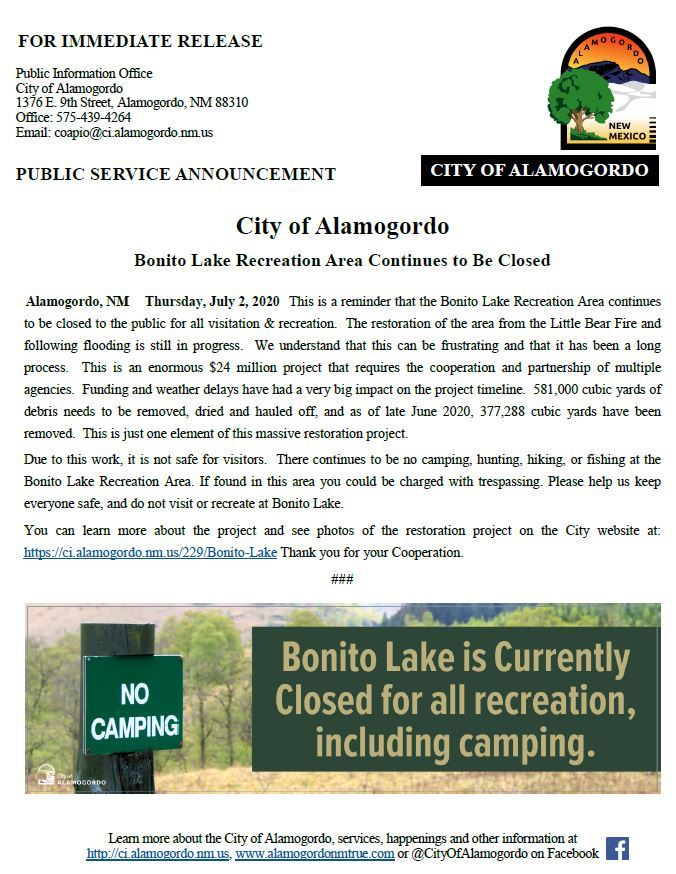 PSA - Closure Reminder for Bonito Lake Recreation Area