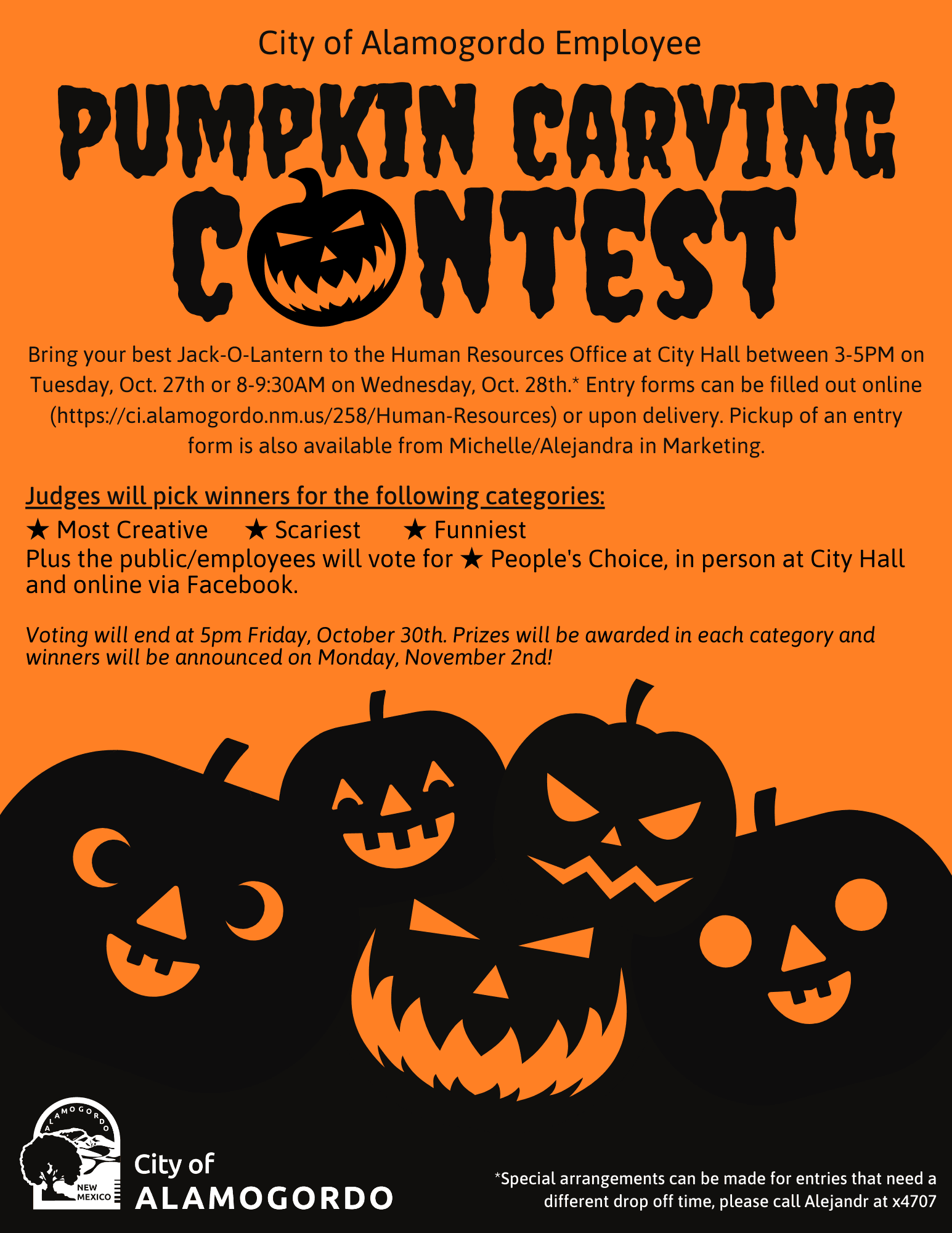 Pumpkin Carving Contest Instructions
