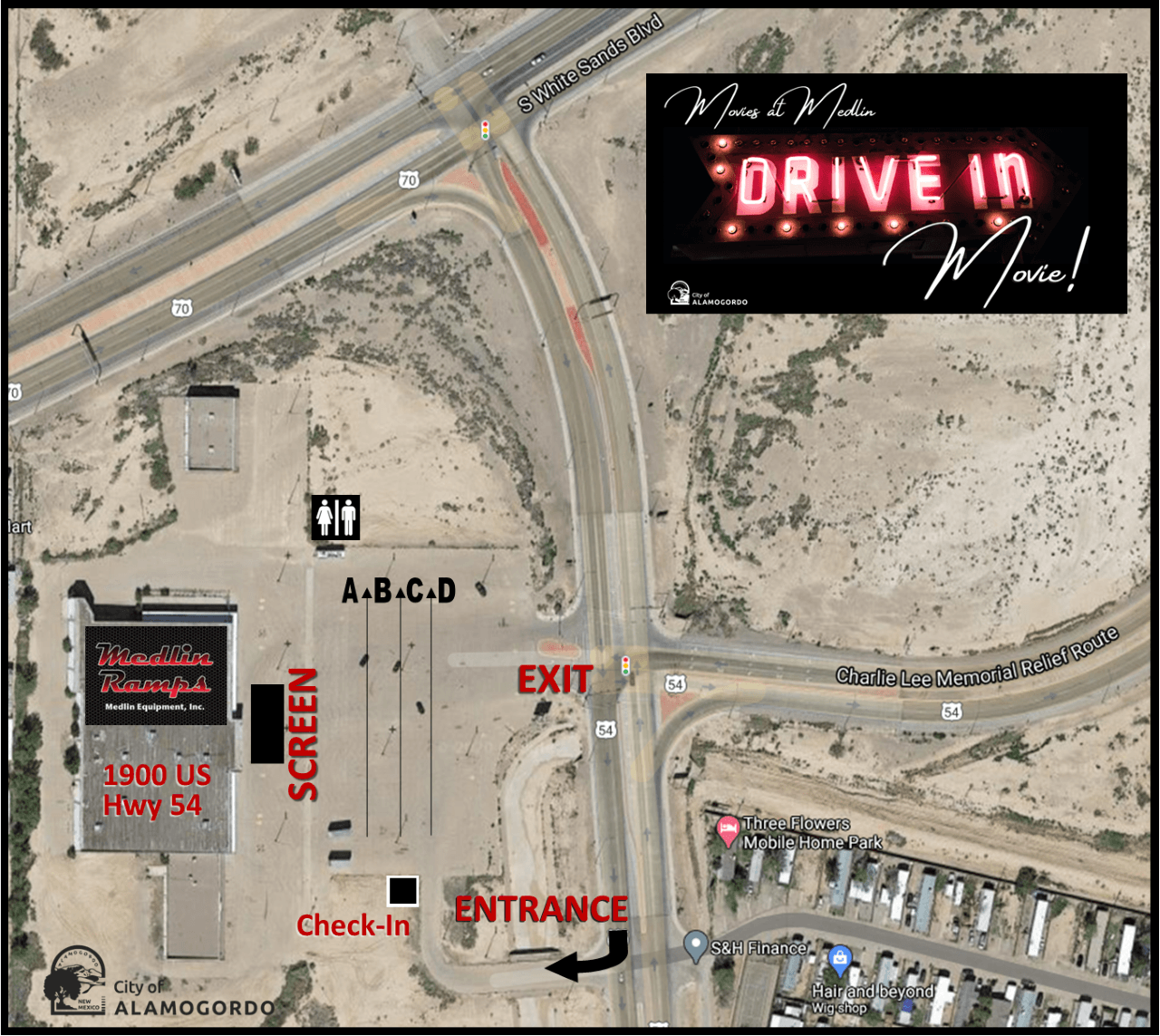Movies at Medlin: Drive-in Movie Venue Map
